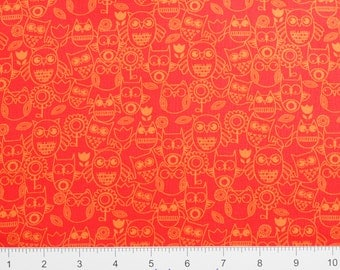 "Studioe ""Wings-N-Things"" ~ Owls 3097-83~ Tonal OWLS and FLOWERS ~  By The Half Yard ~"