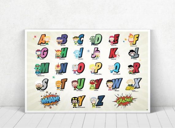 Customizable Superhero Alphabet Art / Superhero Alphabet Art / Marvel Alphabet Art / DC Comics Alphabet Art