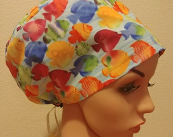 Women's Surgical Cap, Scrub Hat, Chemo Cap, Tropical Fish