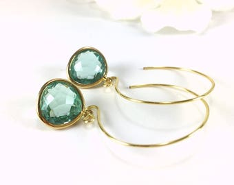 Hoop Earrings Gold Hoop Earrings Aquamarine Crystal Drop Hoop Earrings Gold Aquamarine Dangle Hoop Earrings Loop Earrings Fashion Earrings