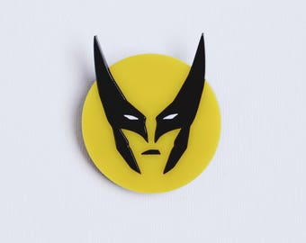 Wolverine superhero acrylic pin brooch Logan, Marvel comics, X-men pin, James Howlett, Avengers, S.H.I.E.L.D., SHIELD, Fantastic four
