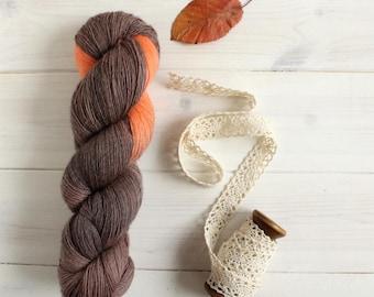 Pumpkin Spice - autumn Starbucks themed hand dyed yarn - lace weight yarn - 100g skein - 100% merino wool