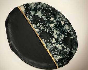 22kt Gold and Marble Stoneware Tray