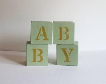 Green Nursery Blocks, Baby Blocks, Love Blocks, Nursery Decor, Rustic Nursery Decor, Reversible Blocks, Baby Shower Gift, Baby Gift