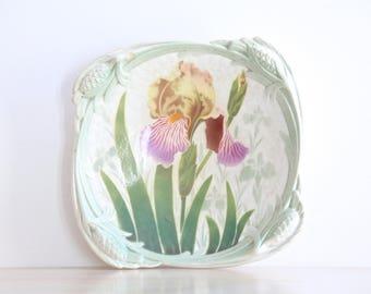 Antique French Majolica Iris Orchids Compote K & G Luneville France, Art Nouveau French Majolica Plate, Barbotine Plate Keller et Guerin