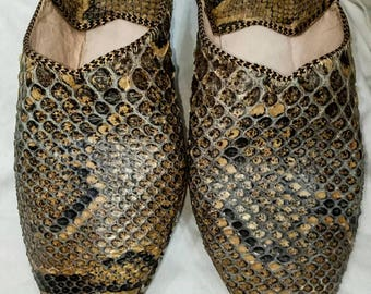 Moroccan shoes slippers real snake skin Babouche de serpent naturel