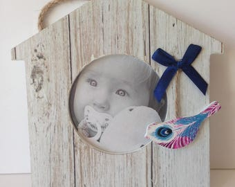 Baby picture frame birdhouse