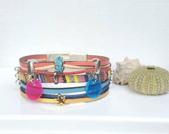 """Pastels"" multicolored fabric leather Cuff Bracelet"