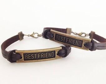 Reserved for Kiberly  Best friend bracelet Antique bronze bracelet Brown leather bracelet Simple bracelet Bff bracelet
