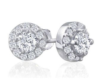 14k White Gold 1/4ct Diamond Stud Earrings With Pave Diamonds