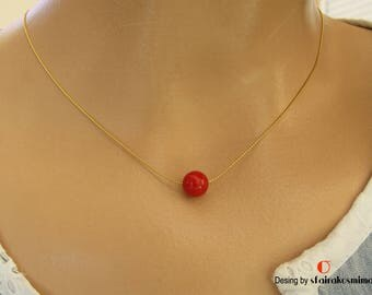Single Red Coral Necklace, Gold Chain Red Coral, Sterling Silver Coral Necklace, Minimalist Gemstone Pendant, Dainty Coral, Coral Color