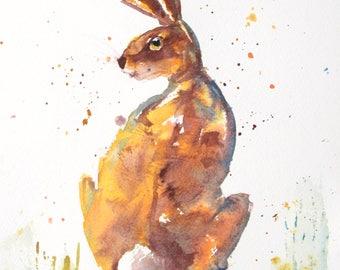 Hare Watercolor Print of Original Painting, Watercolor Hare painting, Hare Painting