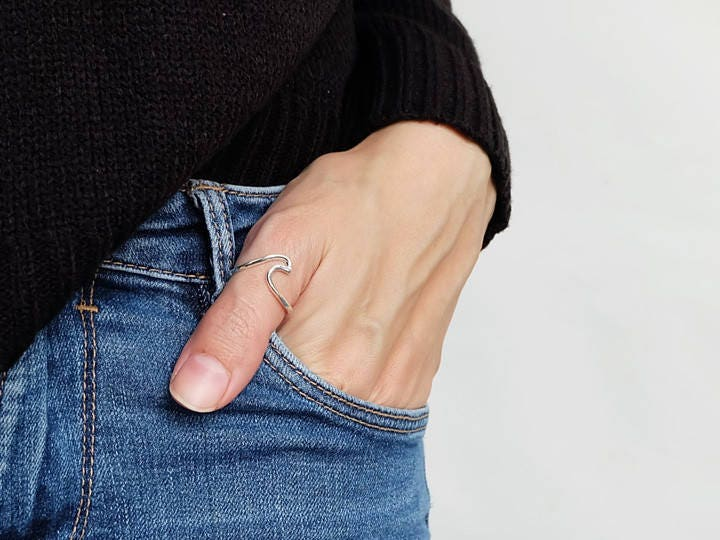 925 Sterling Silver Women Beach Jewelry Ocean Wave Thumb