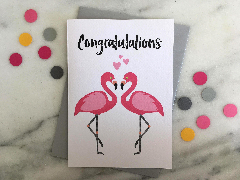 Flamingo Congratulations Card Flamingo Card Flamingo