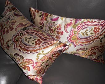 Kravet Couture Throw pillows KISS FOR LUCK Paisley floral design silky pillows purple red tones viscose silk New custom Pair