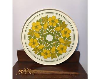 Vintage retro tray floral yellow