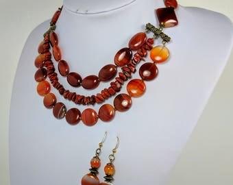 Carnelian red Agate multi strand necklace, carnelian long earrings, carnelian agate set, genuine untreated Carnelian Statement Necklace