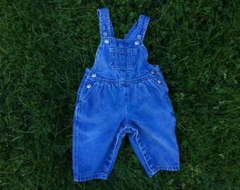 Vintage 90's denim baby overalls 6/9 months