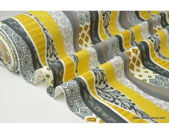 Popeline 100% coton dessin ZAYEN MOUTARDE GRIS 160cm 110gr/m²