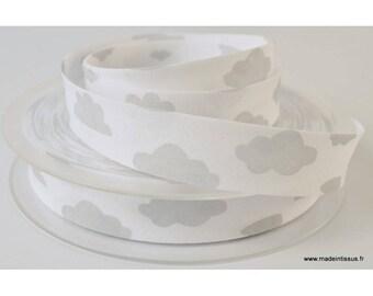 Biais replié 18 mm coton imprimé Nuages Gris