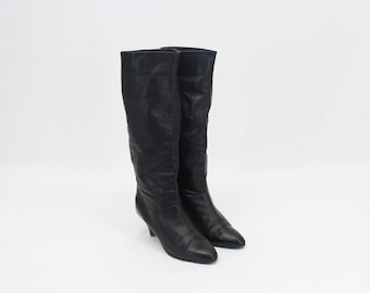 90s Vintage • Vintage • Vintage ladies Boots • Ladies Boots • Black Leather Boots •  Leather Boots • Women's Boots • US 7.5 • UK 5 • EU 38