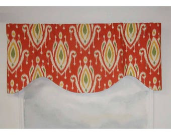 Surat Orange/Red Contemporary Ikat Valance