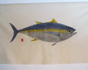 Yellow fin Tuna  Original direct method gyotaku print