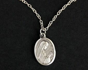 Saint Gertrude Necklace. Catholic Necklace. St Gertrude Medal Necklace. Patron Saint Necklace. Catholic Jewelry. Religious Necklace.