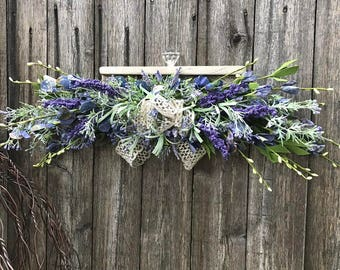 Primitive Weathered Wood and Silk Floral Wall Arrangement