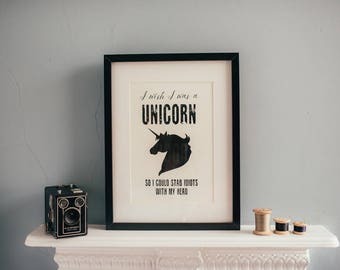 A4 Unframed I wish I was a Unicorn Print