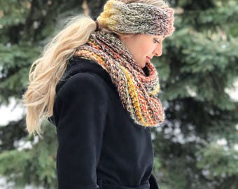 Matching Cabled Headband and Infinity Scarf