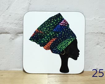 Headwrap coasters, African coasters, unique coasters, gele headwrap women coasters, drinks mat, birthday gift for her, UK free shipping