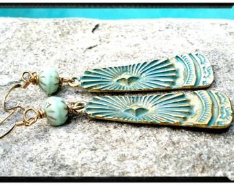 Long Gold & Mint Earrings//Turquoise Patina Fire Polished Mint Beads//Dangle Earrings -  Bohemian//Gypsy//Hippie Chic