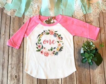 First Birthday Shirt, One Shirt, One Wreath, First Birthday Outfit Girl, 1st Birthday Outfit, 1 Floral Wreath, One Years Old,Pink Baby Shirt