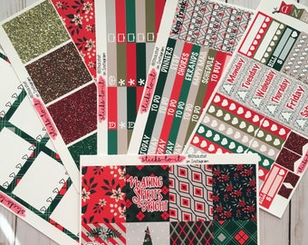 Traditional Christmas ECLP Happy Planner Inkwell Press Weekly Kit Stickers Check Lists Daily Boxes Washi Strips plaid red green glitter