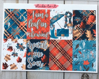 Soar with the Leaves Mini Weekly Set Horz and Vert Planner Sticker - Full ECLP Mambi Inkwell Press Filofax Kikki K Holiday plaid Autumn Fall
