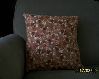 Brown tone floral pillow cover