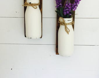 Rustic pair of wall hangings with milk bottle vase in reclaimed wood, decorative home decor, gift, wall sconce