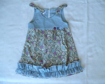 BABY GIRL DRESS, blue dress, baby dress, girl dress, toddler dress, summer, holiday, handmade