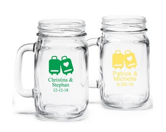 24 pcs Love Travels Design Personalized Mason Jar Drinking Glass (JM365294)