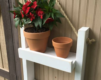 Decorative ladder shelf plant stand | Indoor hanging wall planter | Rustic vertical herb garden | Wooden ladder plant shelf farmhouse decor