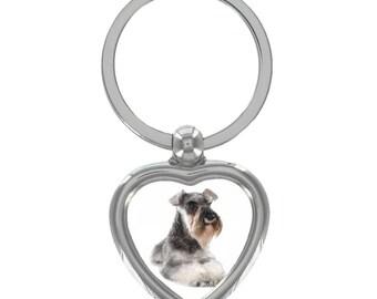 Schnauzer Image Heart Shaped Keyring in Gift Box
