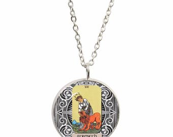 Strength Tarot Card Pendant and Silver Plated Necklace