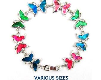 Multi Butterfly Shell Bracelet, Abalone Shell Bracelets, Shell Bracelet With Multi Color Shell Inlay Butterfly Bracelets # PSB-006