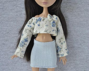 Handmade  outfit-blouse and jeans skirt for Monster High,Ever After High doll