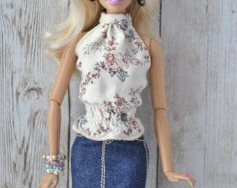 Beautiful handmade outfit-top and denim jeans skirt  for Barbie Fashionistas ,Model Muse ,Fashion Royalty,Poppy Parker dolls