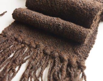 Winter Scarf, Artisan Wool Scarf, Hand Spun and Hand Woven Scarf,  Luxury Wool Scarf, Rambouillet Wool