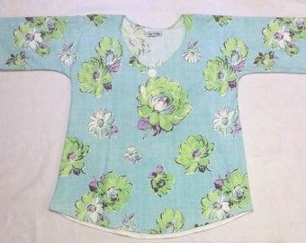 S/M Retro Repurposed Tablecloth Tunic - Floral