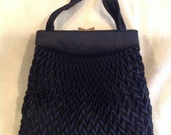 Gorgeous black vintage quilted satin Parisian evening bag