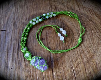 Handmade amethyst wrapped crystal point macrame necklace with rose quartz amethyst and amazonite gemstone beads adjustable length linhasita